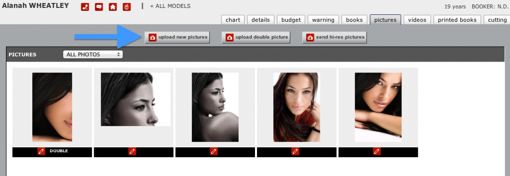 model's pictures page